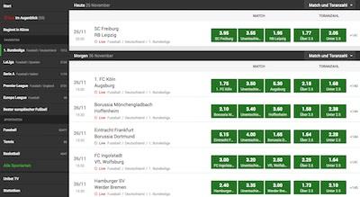 Unibet Wettquoten Bundesliga