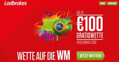 Jetzt bis 100 Euro WM Bonus von Ladbrokes sichern