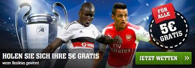 youwin Freebet zum Spiel Besiktas gegen Arsenal