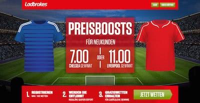 Ladbrokes Preisboost Bonus bei Chelsea vs Liverpool