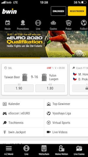 Bwin Sportwetten App Startseite