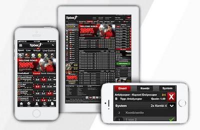 Tipbet Sportwetten App Smartphone und Tablet