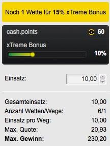 Beispiel Tipp zum Cashpoint Xtreme Bonus