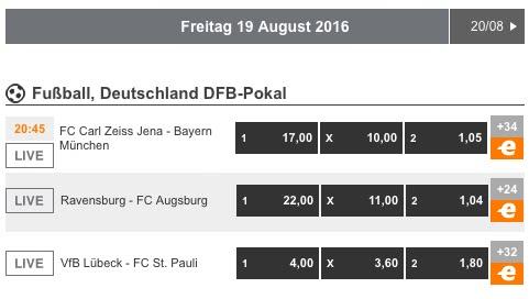 DFB Pokal Expekt 1. Runde Freitag