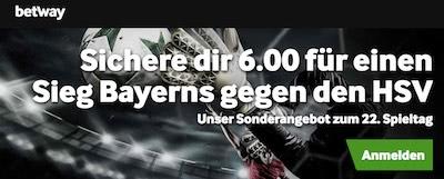Betway Quotenboost Bayern München vs HSV