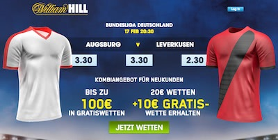William Hill Freebet bei Augsburg vs Leverkusen