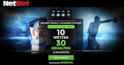 Netbet Aktion zum Kampf Joshua vs Klitschko
