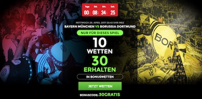 Netbet Bonus zum Pokalspiel Bayern - Dortmund