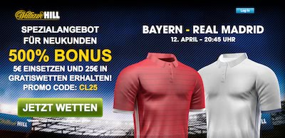 William Hill Promo zum CL Spiel Bayern vs Real