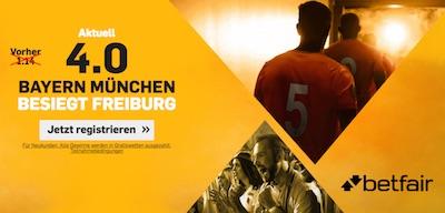 Betfair Quotenbonus zum Spiel Bayern vs Freiburg