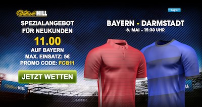 William Hill Quotenaktion Bayern vs Darmstadt
