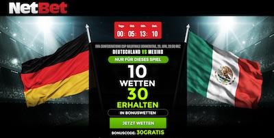 Netbet Special Bonus zum Spiel Deutschland vs Mexiko
