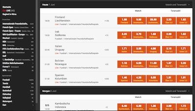 Screenshot des Wettangebots auf der 888sport Webseite