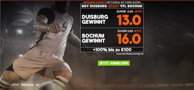 888sport Quotenboost Duisburg vs. Bochum