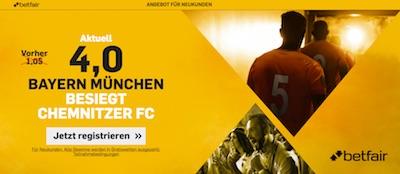 Betfair DFB Pokal Aktion mit Topquote auf Bayern