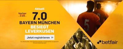 Betfair verbesserte Quoten Bayern - Leverkusen