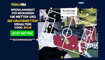 William Hill Spezialangebot zum 6. Bundesliga Spieltag
