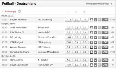Tipico Quoten Bundesliga Spieltag sechs