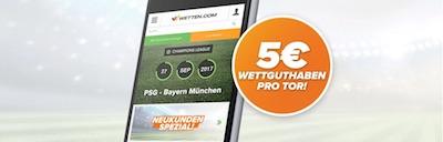 5 Euro für jedes Bayern-Tor gegen Paris