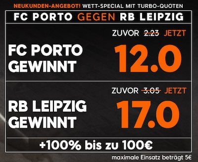 Quotenboost zu Porto vs Leipzig