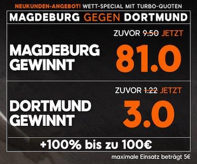 888sport Quotenboost zum Spiel Magdeburg vs Dortmund