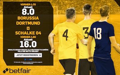 Betfair Quotenboost zum Spiel Dortmund vs Schalke