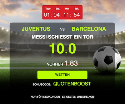 Netbet Quotenboost Messi trifft gegen Juventus