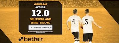 Betfair Quotenboost zu England gegen Deutschland