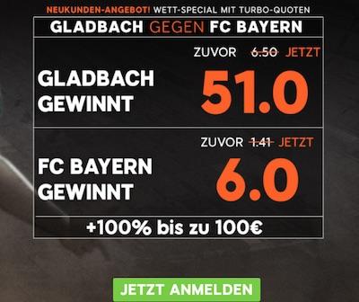 Borussia Mönchengladbach gegen Bayern München Quotenboost bei 888sport
