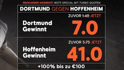 Borussia Dortmund gegen die TSG 1899 Hoffenheim Quotenboost 888sport
