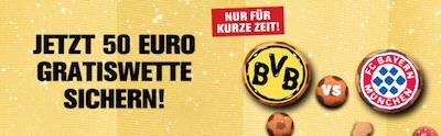 Interwetten Gratiswetten Aktion zu Bayern gegen Dortmund