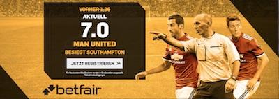 Manchester United gegen Southampton Quotenboost bei Betfair