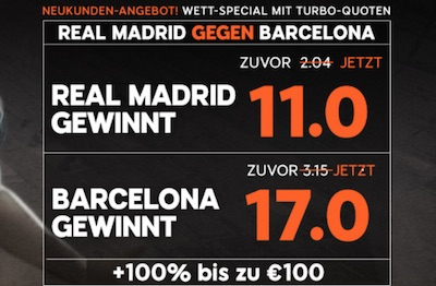 Real Madrid gegen FC Barcelona bei 888sport Quotenboost