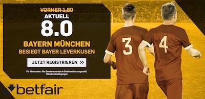 Betfair Quotenboost zu Leverkusen gegen Bayern