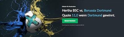 Betvictor Quotenboost zu Hertha BSC Berlin gegen Borussia Dortmund