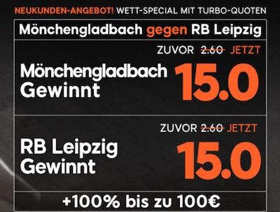 Quotenboost zu Borussia Mönchengladbach gegen RB Leipzig bei 888sport