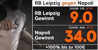 Quotenboost bei 888sport zu Leipzig-Napoli