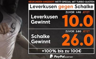 Quotenboost zu Leverkusen-Schalke bei 888sport