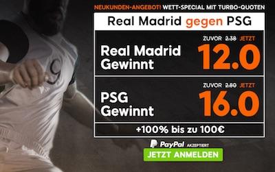 888sport: Erhoehte Quoten bei Real-PSG