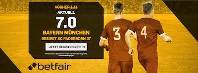 Bayern gegen Paderborn Quotenboost bei Betfair