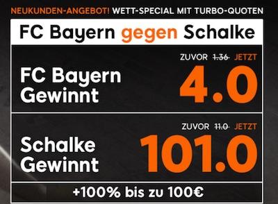 Bayern gegen Schalke Quotenboost bei 888sport