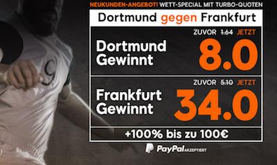 888sport Wettquoten Aktion zu BVB-Frankfurt