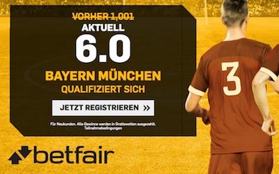 Betfair Quotenboost auf Bayern-Aufstieg