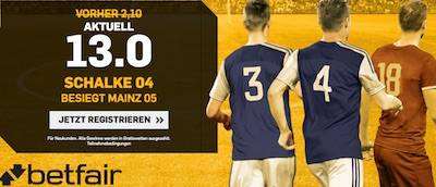 Betfair: Verbesserte Quote zu Mainz-Schalke