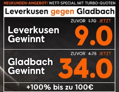 Leverkusen gegen Gladbach Quotenboost bei 888sport