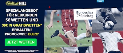 William Hill Angebot Bundesliga Spieltag 27