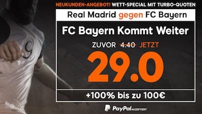 888sport: 29.0 auf Bayern kommt vs. Real weiter