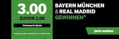 Betway Boost zu Bayern gegen Real Madrid