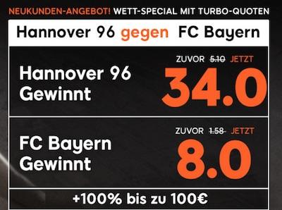 Hannover 96 gegen Bayern München 888sport Quotenboost