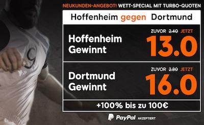 Hoffenheim-BVB: Wettquoten Erhöhung bei 888sport